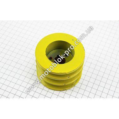 Шкив ведущий D=85мм под коленвал 20мм 3-х ручейковый, два паза под ремень SPB один под SPA. (168F/170F)