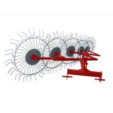 Грабли-ворошилки 5-ти колесные (Солнышко) красно-серые на мототрактор