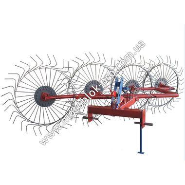 Грабли-ворошилки солнышко Булат 4-х колесные красно-серые на мототрактор
